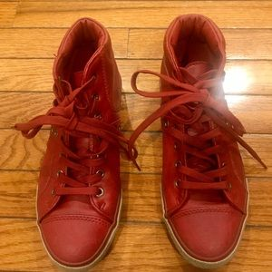 Shoes - Red high top sneakers